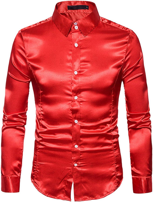 DZQUY Mens Hipster Slim Fit Long Sleeve Lapel Shirt Summer Casual Dress Shirts Fashion Glossy Button Up Dress Shirts Tops