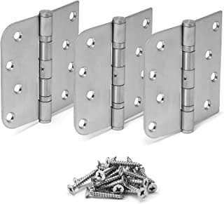 "Stainless Steel Ball Bearing NRP Hinges, 4"" X 4"" with 5/8"" Radius Corner, Pack of 3"