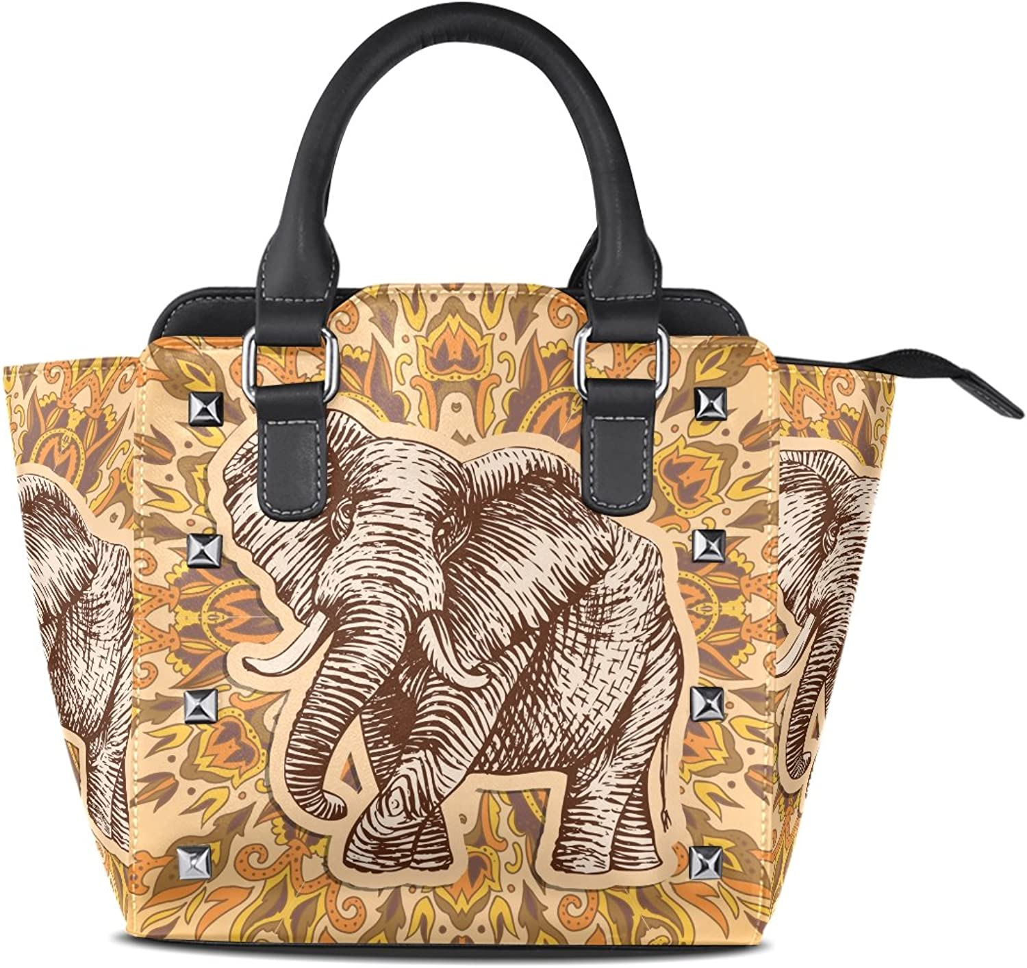 Sunlome Fantasy Elephant Print Handbags Women's PU Leather Top-Handle Shoulder Bags