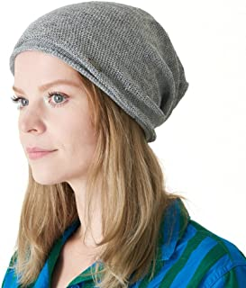 CHARM Linen Beanie Hat Summer Cap - Mens Slouchy Beanie Womens Baggy Knit Cooling Hat