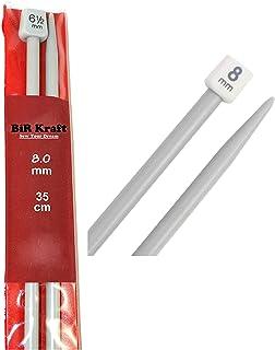2 agujas de tejer de plástico de 35 cm de largo, 5mm, 5,5mm, 6mm, 6,5mm, 7mm, 7,5mm, 8mm, 9mm y 10mm., 2 x 8mm