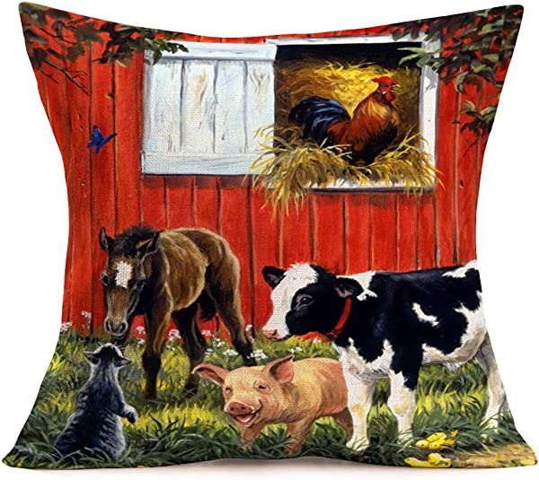 Hopyeer Vintage Rustic Farm Decor Throw Pillow Covers Cotton Linen Autumn Harvest Farmhouse Animals Cow Pig Horse Rooster Cat Design Square Pillowcase Decor Home Sofa Bed 18 X18 VR Animals