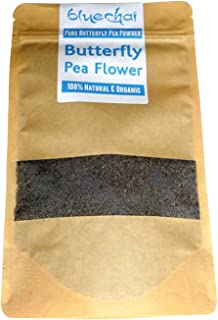 Bluechai Butterfly Pea Flower Powder - Natural Blue Food Coloring - 100% Organic Bluechai - Pure Powdered Butterfly Pea. Perfect for Beverages, Cakes and Culinary Delights