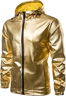 Mens Jacket Metallic Shiny Gold Sliver Nightclub Lightweight Stand Collar Jacket
