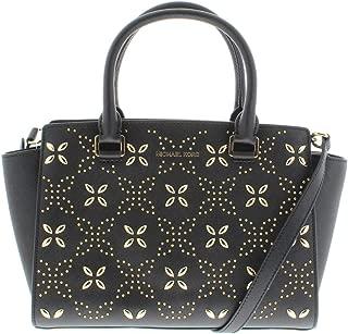 Michael Kors Womens Selma Leather Embellished Satchel Handbag Black Medium
