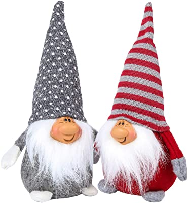 Funoasis Christmas Gnome Gifts Holiday Decoration Kids Birthday Present Handmade Tomte Plush Doll, Home Ornaments Tabletop Santa Figurines (8 inch) Grey + Red
