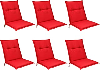 Beautissu Set de 6 Cojines para sillas de Exterior, tumbonas, mecedoras o Asientos con Respaldo bajo Base NL 100x50x6 Placas compactas de gomaespuma - Rojo