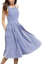 Kuraki Women's Sexy Sleeveless Open Back Stripe Fit and Flare Dress with Pockets