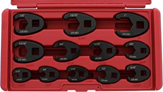 ABN Jumbo Crowfoot Flare Nut Wrench Set SAE Standard 12-Piece Tool Kit for 3/8in and 1/2in Drive Ratchet