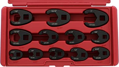 ABN Jumbo Crowfoot Flare Nut Wrench Set SAE Standard 12-Piece Tool Kit for 3/8in and..