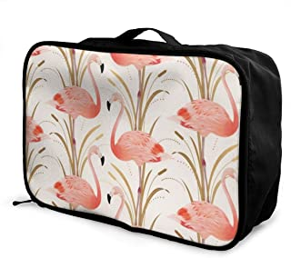 WONDERMAKE Casual Large Capacity Portable Luggage Bag Suitcase Storage Bag Luggage Packing Tote Bag Pink Flamingo Clipart Style Travel Duffel Bag Weekend Trip
