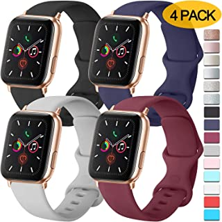 [Pack 4] Compatible with Apple Watch Bands 44mm 42mm for Women Men, Soft Silicone Bands Compatible with iWatch Series 5, 4, 3, 2, 1 (Black/Navy Blue/Gray/Wine red, 42mm/44mm-M/L)