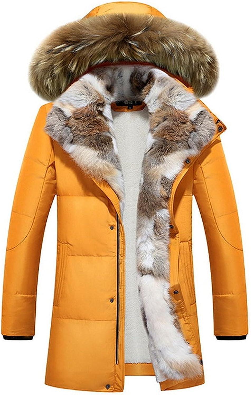 Basieng Winter Large Down Jacket Women's Long Hooded Fur Coat XL