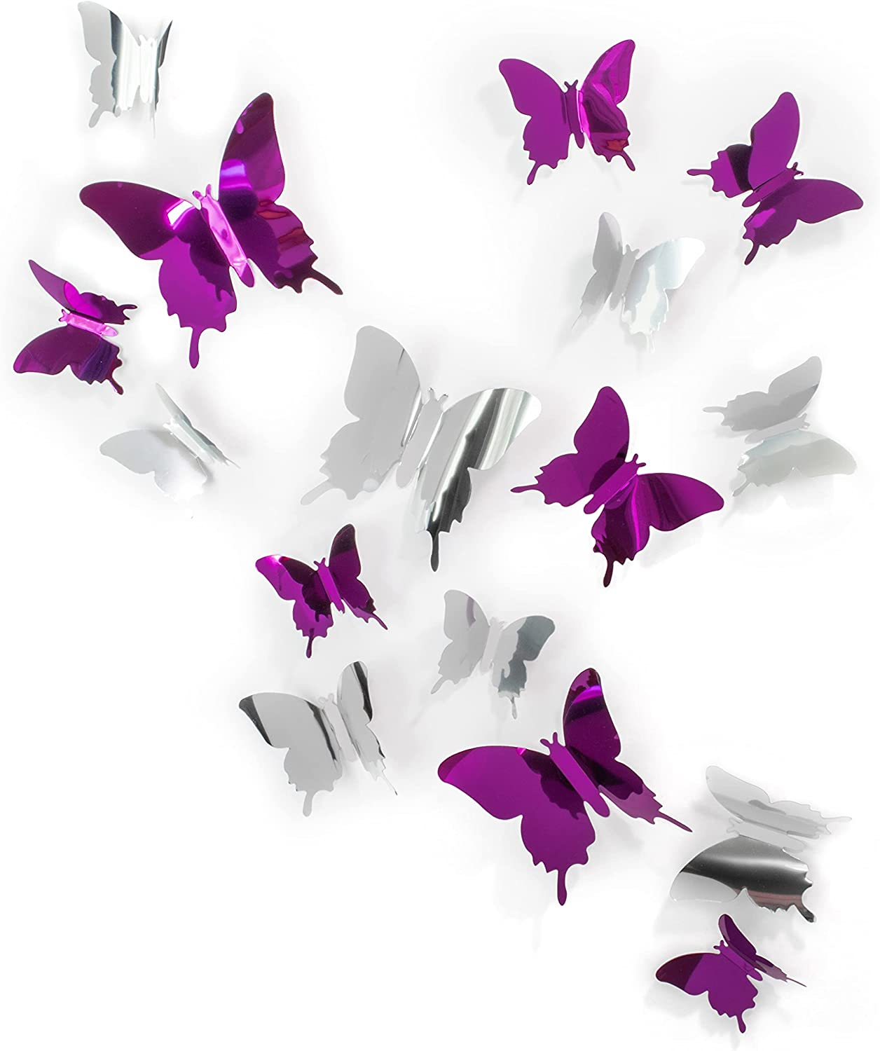 Cute Purple Silver Butterfly Wall Decor 24 pcs, Girls Room Wall Decals, Aesthetic Butterflies Stickers for Decorations, Teen Girls Room Decor
