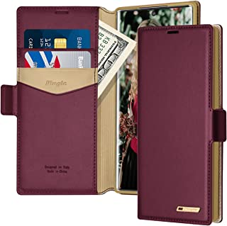 Fingic Samsung Note 10 Plus Case,Note 10 Plus Wallet Case PU Leather Wallet Case 2 ID & Credit Card Slots Holder Side Pocket Kickstand Feature Flip Case Cover for Galaxy Note 10 Plus (2019) - Wine Red