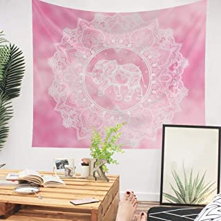 Zunniu Pink Mandala Wall Tapestry,Boho Tapestry Wall Hanging for Dorm Bedroom Living Room Art Decor Picnic Beach Blanket Bohemia Home Decor (Pink, L:5979inch)