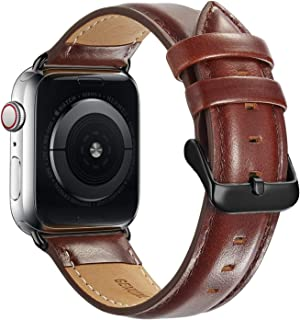 Compatible Apple Watch Band 42mm 44mm, MAPUCE Genuine Leather Bands with Stainless Metal Buckle Replacement Strap Compatible iWatch Series 5 4 3 2 1 with Black Adapter, Dark Brown, Men