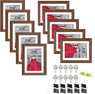 Art Street Set of 10 Individual Wall Photo Frame Brown 6x8 Inches, with Free Hanging Accessories