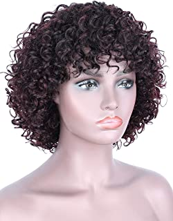 Beauart 100% Remy Human Hair Wigs for Black Women Short Curly Dark Roots Ombre Black to Black Cherry 100% Brazilian Wave Curls Real Human Hair Wig with Hair Bangs + Free 2 Pieces Wig caps