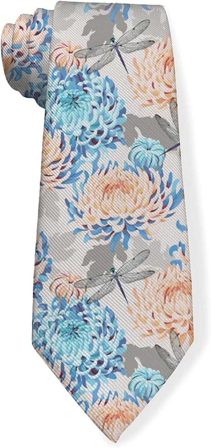 Colorful Japanese Chrysanthemum And Dragonfly Mens Classic Color Slim Tie, Men's Neckties, Fashion Boys Cravats
