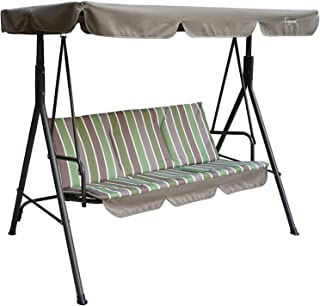 Kozyard Alicia Patio Swing Chair with 3 Comfortable Cushion Seats and Strong Weather Resistant Powder Coated Steel Frame (Lime Stripe)