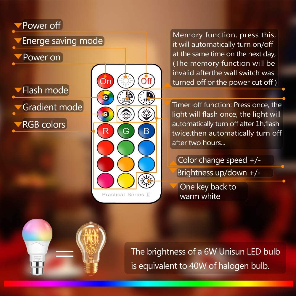 Dimmable Edison Screw Coloured Bulb Night Light Bulb for Home Bar Party KTV Mood Ambiance ,RGB LED E27 Light Bulb with Remote Control Equivalent to 40W Unisun Colour Changing Light Bulb 2 Pack