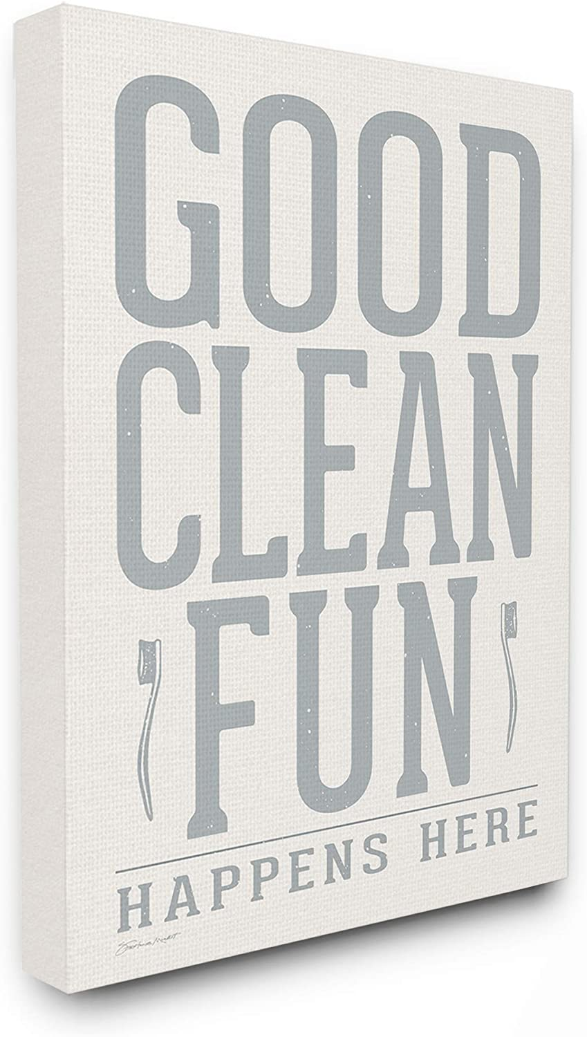 The Stupell Home Décor Grey and White Distressed Good Clean Fun Typography with Toothbrushes Stretched Canvas Wall Art, 16x20, Multicolor