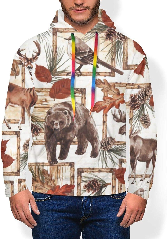 Deer Bear Moose Animal Watercolor Men'S Hoodie Pullover Fleece Sweatshirt Soft Warm Boys' Jacket