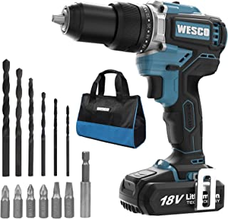 Brushless Cordless Drill, WESCO 18V 2.0Ah Cordless Combi Drill with 13 Accessories, max Torque 60 N.m, 22 + 1 + 1, 2 Speed...
