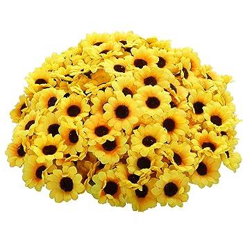 CEWOR 200pcs Artificial Yellow Sunflower Heads 1.8 Inches Silk Fabric Fake Sunflower Heads for Wedding Decoration Bridal Bouquet DIY Handicrafts