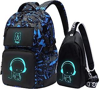 حقائب ظهر Asge للأولاد حقائب مدرسية للأطفال حقيبة كتب مضيئة ومجموعة حقائب رفع
