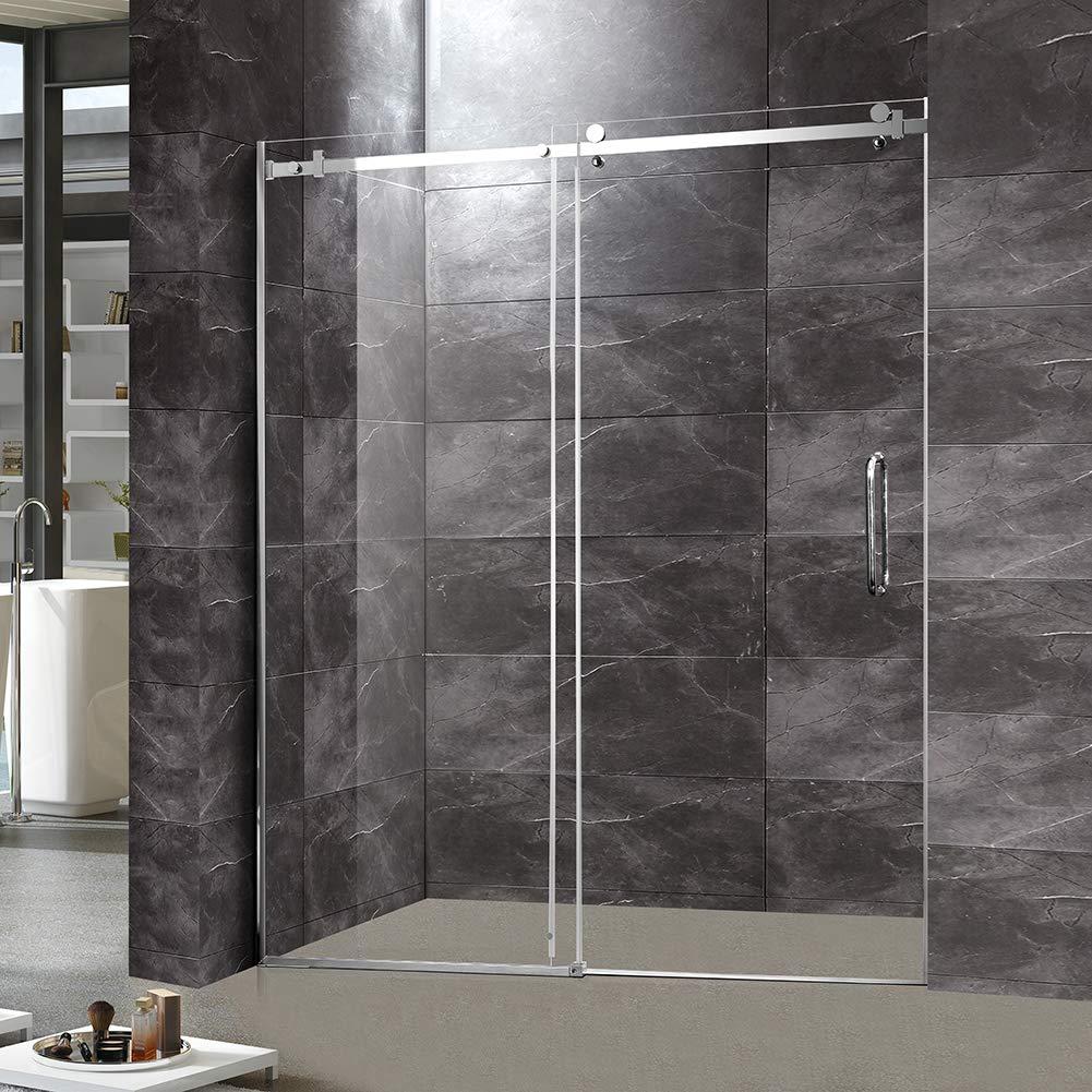 TONYRENA Puerta de ducha corredera sin marco, 56 pulgadas a 60 pulgadas de ancho x 72 pulgadas de alto 5/16 pulgadas de vidrio templado transparente, acabado cromado: Amazon.es: Bricolaje y herramientas