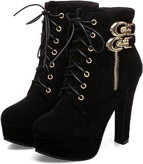 63e023a8828 Susanny Womens Sexy Martin Boots Platform Chunky High Heels Ankle Booties  Lace Up Zipper Autumn Winter