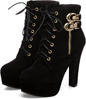 Womens Sexy Martin Boots Platform Chunky High Heels Ankle Booties Lace Up Zipper Autumn Winter Shoes