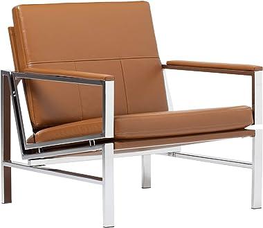 Studio Designs Home Modern Atlas Accent Chair for Living Room Bedroom, Bonded Leather, Carmel, 72004