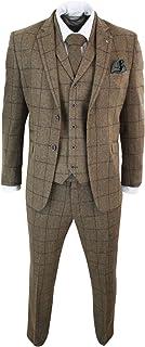 Cavani Men's 3-Piece Suit Brown Oak Herringbone Tweed Design Checked
