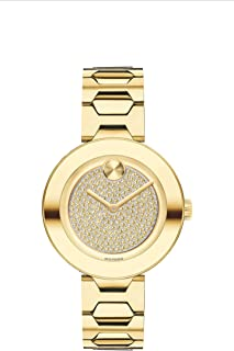 Movado Women's BOLD T-Bar LYG Watch with a Flat Dot Crystal Dial, Gold (Model 3600492)