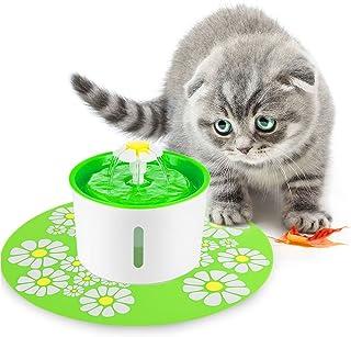 FONLAM ペット給水器 犬 猫 水量見え 自動給水器 循環式給水器 活性炭フィルター2枚付き 食事マット付き フラワーファウンテン 1.6L大容量 お留守番対応 犬用 猫用 滝式 噴水 電動 循環式水飲み器 水量が見える (グリーン)