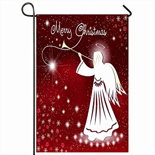 Ahawoso Outdoor Garden Flag 12x18 Inches Blue Snowflake Blond Sky December Hair Christmas Angel Stars Night Holidays Celebration Holiday Cold Seasonal Home Decor Welcome House Yard Banner Sign Flags