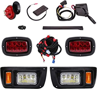 10L0L Golf Cart LED Headlight and Tail Light Kit for 1993-UP Club Car DS Carts with Turn Signals Switch Horn Brake Lights Harness(Must Input 12 Volts)