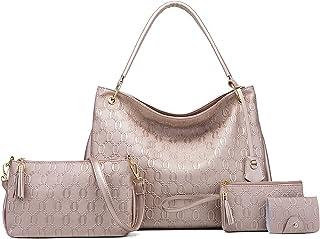 Segater 4er-Set Handtasche und Geldbörsen für Damen Tasche aus PU-Leder mit Tragegriff Tragetaschen Work Shopper Umhängeta...