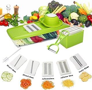 SEESEE.U - Coupe-légumes - Râpe 6 en 1 - Mandoline - Coupe-légumes - 5 lames - Éplucheur + brosse - Protection mains - Vert