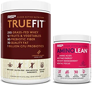 AminoLean Pre Workout Energy (Fruit Punch 30 Servings) with TrueFit Protein Powder (Cinnamon Churro 2 LB)