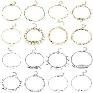 Yaomiao 16 Pièces Bracelets de Cheville de Plage Cheville Réglable Chaînes de Cheville Boho Bijoux de Pied Set pour Femmes...