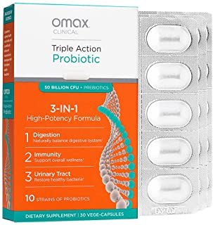 Omax Synbiotic Probiotic Prebiotic Inulin Chicory Root Fiber | 50 Billion CFU +10 Strains | Vegan, Therapeutic Grade, Dair...