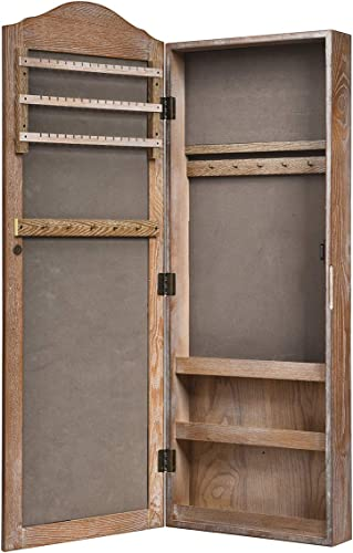 wholesale Giantex high quality Jewelry Armoire Cabinet Wall/Door Mounted with Mirror, Rustic Full Length Mirrored Storage Jewelry Organizer with Hooks Ring Earring Slots, Bedroom wholesale Armoires Jewelry Cabinets (Natural Wood) sale