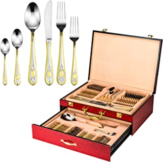 Florentia Collection 75-Piece Cutlery Set 'Averardo' Luxury Surgical Stainless Steel Silverware Flatware Set 18/10, Service for 12 Person, 24K Gold-Plated Hostess Serving Set in a Cherry Wooden Case
