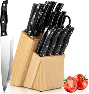 JJYIFAP Knife Set, 19 Piece Kitchen Knife Set with Wooden Knife Block, High-Carbon German Stainless Steel Chef Knife with ...