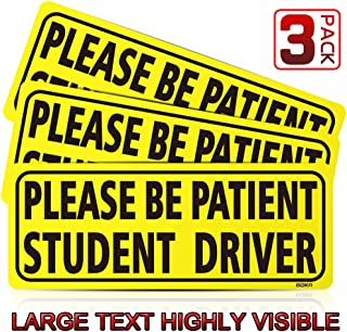 BOKA Student Driver Magnet Car Signs - Reflective Vehicle Bumper Magnet Set of 3 Magnetic Bumper Sticker for New Driver Novice in Yellow, Easy to Read (Upgraded of Large Font)