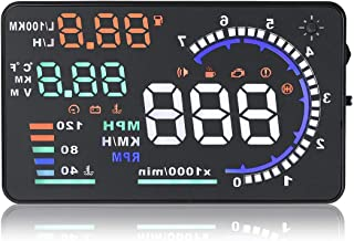 Universal 5.5 Car HUD Head-Up A8 Display Multi-Color Windshield Screen Projector Vehicle Speed & GPS Navigation Compass, Plug & Play, with Speed, Time, Altitude & More